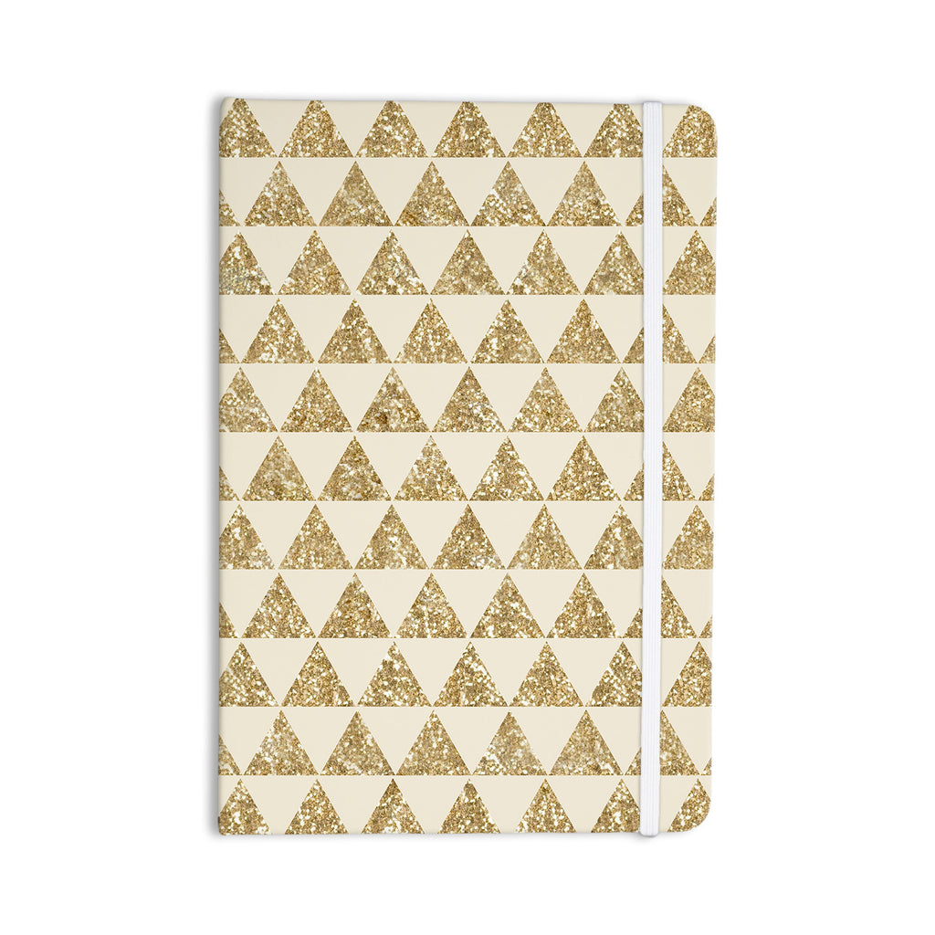 "Nika Martinez ""Glitter Triangles in Gold"" Tan Yellow Everything Notebook - KESS InHouse"