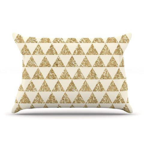 "Nika Martinez ""Glitter Triangles in Gold"" Tan Yellow Pillow Sham - KESS InHouse"