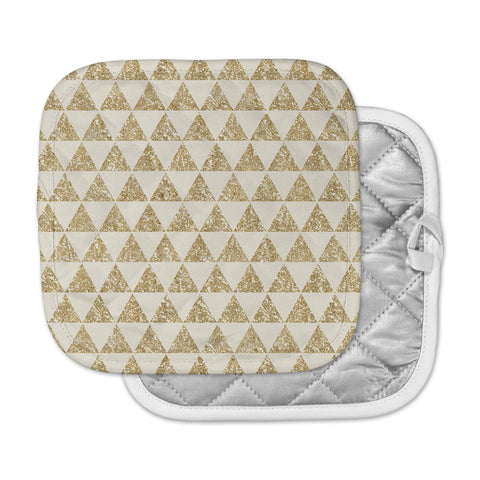 "Nika Martinez ""Glitter Triangles in Gold"" Tan Yellow Pot Holder"