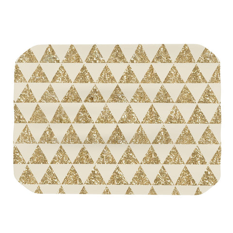 "Nika Martinez ""Glitter Triangles in Gold"" Tan Yellow Place Mat - KESS InHouse"