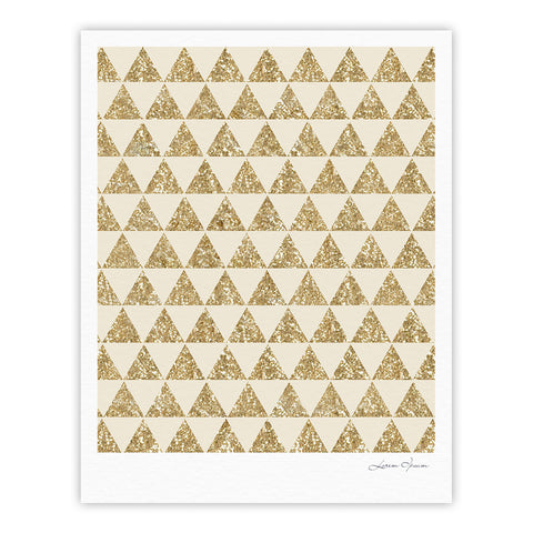 "Nika Martinez ""Glitter Triangles in Gold"" Tan Yellow Fine Art Gallery Print - KESS InHouse"