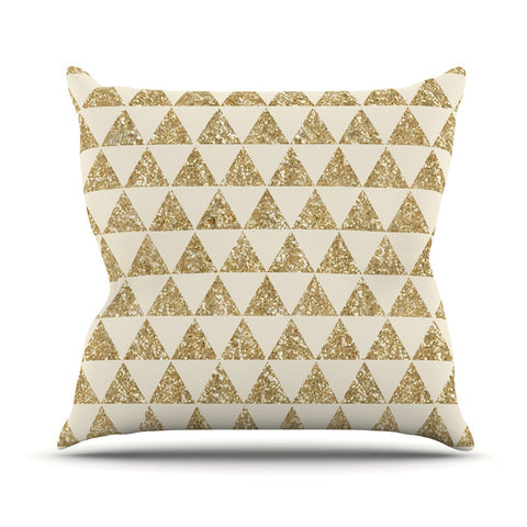"Nika Martinez ""Glitter Triangles in Gold"" Tan Yellow Throw Pillow - KESS InHouse"