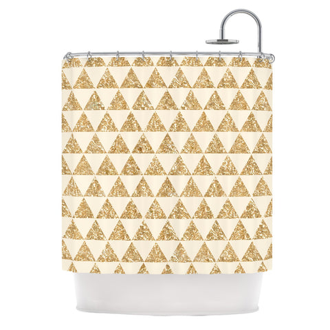 "Nika Martinez ""Glitter Triangles in Gold"" Tan Yellow Shower Curtain - KESS InHouse"