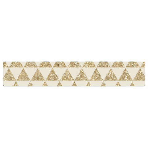 "Nika Martinez ""Glitter Triangles in Gold"" Tan Yellow Table Runner - KESS InHouse"