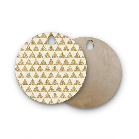 "Nika Martinez ""Glitter Triangles in Gold"" Tan Yellow Round Wooden Cutting Board"