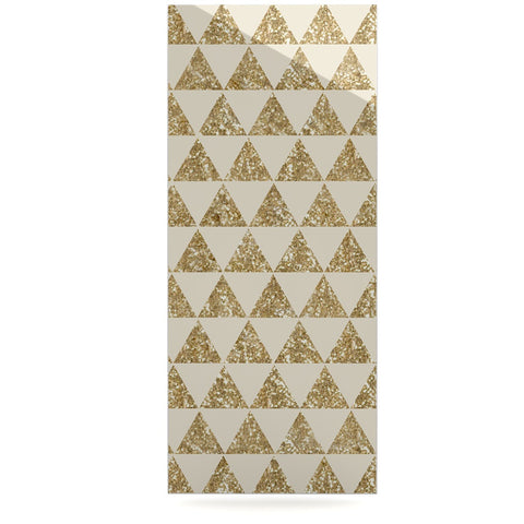 "Nika Martinez ""Glitter Triangles in Gold"" Tan Yellow Luxe Rectangle Panel - KESS InHouse"