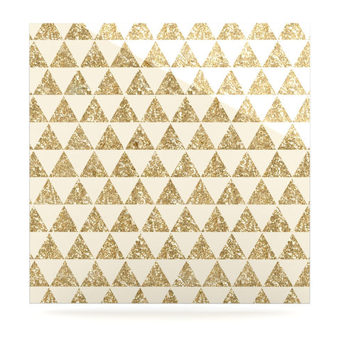 "Nika Martinez ""Glitter Triangles in Gold"" Tan Yellow Luxe Square Panel - KESS InHouse"