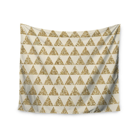 "Nika Martinez ""Glitter Triangles in Gold"" Tan Yellow Wall Tapestry - KESS InHouse  - 1"
