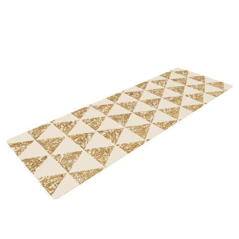 "Nika Martinez ""Glitter Triangles in Gold"" Tan Yellow Yoga Mat - KESS InHouse  - 1"