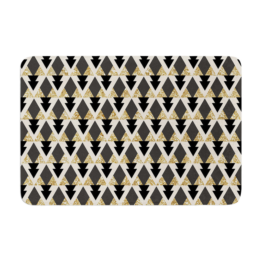 "Nika Martinez ""Glitter Triangles in Gold & Black"" Geometric Memory Foam Bath Mat - KESS InHouse"
