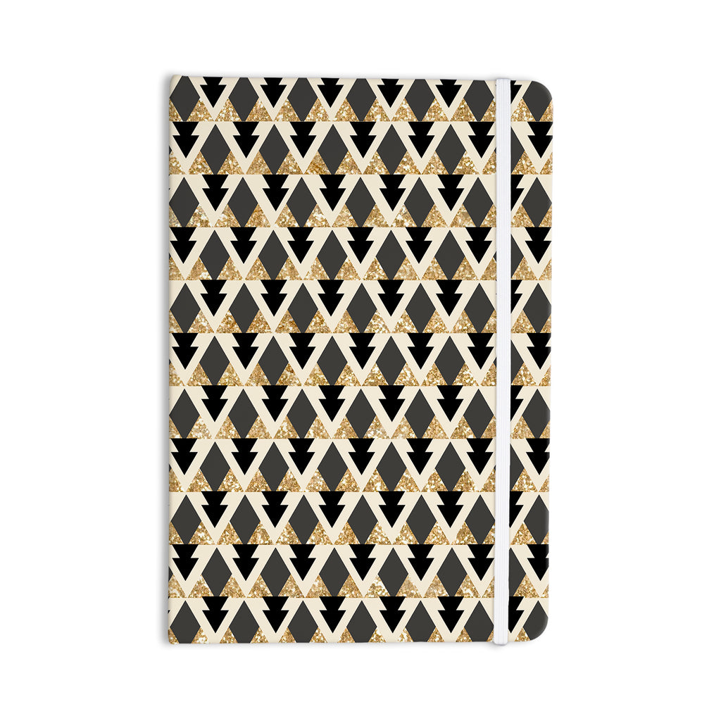 "Nika Martinez ""Glitter Triangles in Gold & Black"" Geometric Everything Notebook - KESS InHouse"