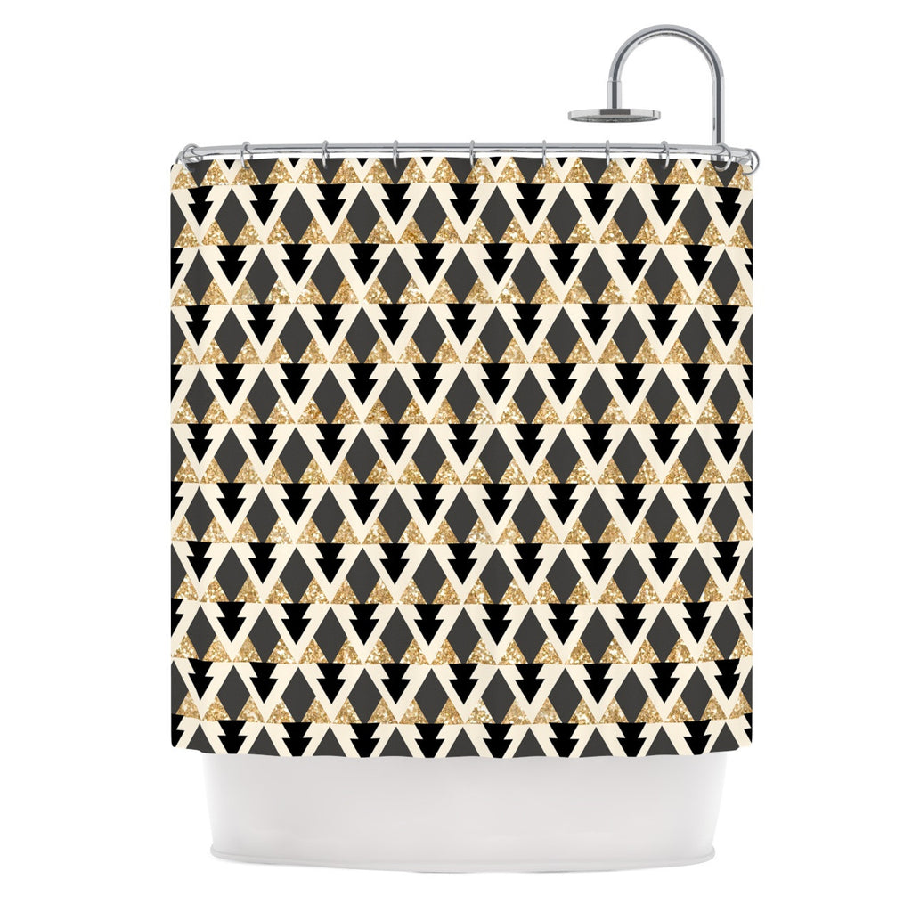 Glitter Triangles in Gold & Black Shower Curtain by Nika Martinez ...