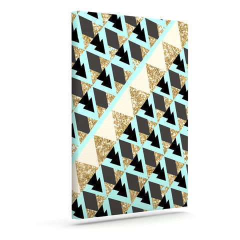 "Nika Martinez ""Glitter Triangles in Gold & Teal"" Blue Brown Canvas Art - KESS InHouse  - 1"