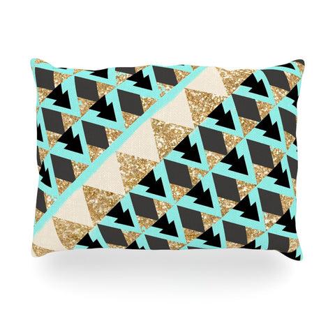 "Nika Martinez ""Glitter Triangles in Gold & Teal"" Blue Brown Oblong Pillow - KESS InHouse"