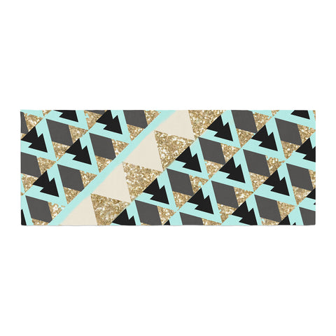 "Nika Martinez ""Glitter Triangles in Gold & Teal"" Blue Brown Bed Runner - KESS InHouse"