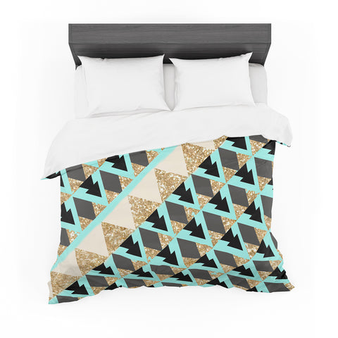 "Nika Martinez ""Glitter Triangles in Gold & Teal"" Blue Brown Featherweight Duvet Cover"