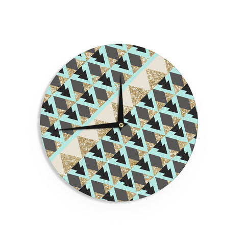 "Nika Martinez ""Glitter Triangles in Gold & Teal"" Blue Brown Wall Clock - KESS InHouse"