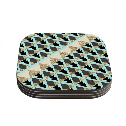 "Nika Martinez ""Glitter Triangles in Gold & Teal"" Blue Brown Coasters (Set of 4)"