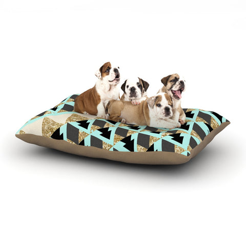 "Nika Martinez ""Glitter Triangles in Gold & Teal"" Blue Brown Dog Bed - KESS InHouse  - 1"