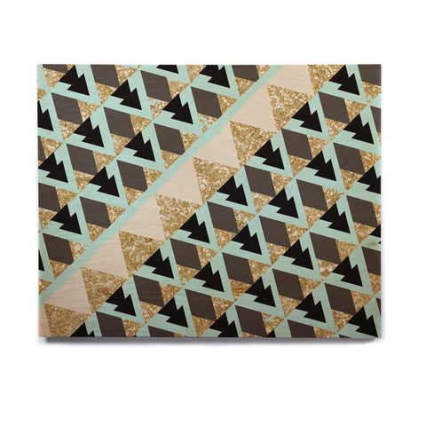 "Nika Martinez ""Glitter Triangles in Gold & Teal"" Blue Brown Birchwood Wall Art - KESS InHouse  - 1"