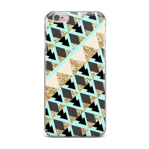 "Nika Martinez ""Glitter Triangles in Gold & Teal"" Blue Brown iPhone Case - KESS InHouse"