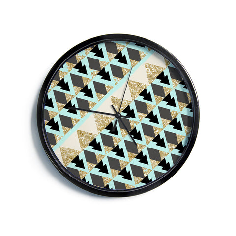 "Nika Martinez ""Glitter Triangles in Gold & Teal"" Blue Brown Modern Wall Clock"