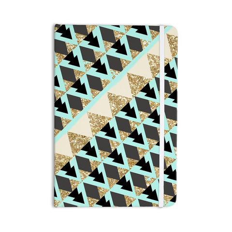 "Nika Martinez ""Glitter Triangles in Gold & Teal"" Blue Brown Everything Notebook - KESS InHouse  - 1"