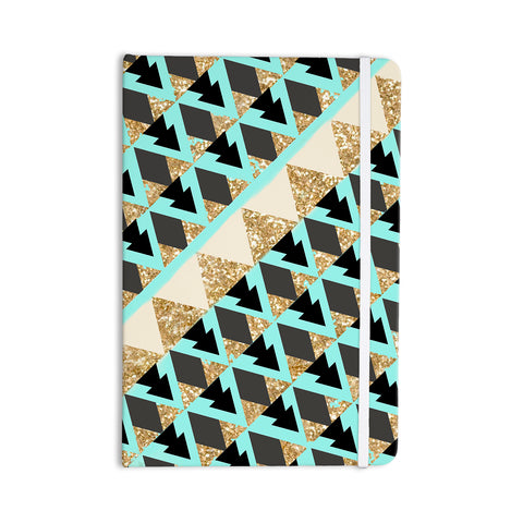 "Nika Martinez ""Glitter Diagonals In Gold and Teal"" Blue Brown Everything Notebook - Outlet Item"