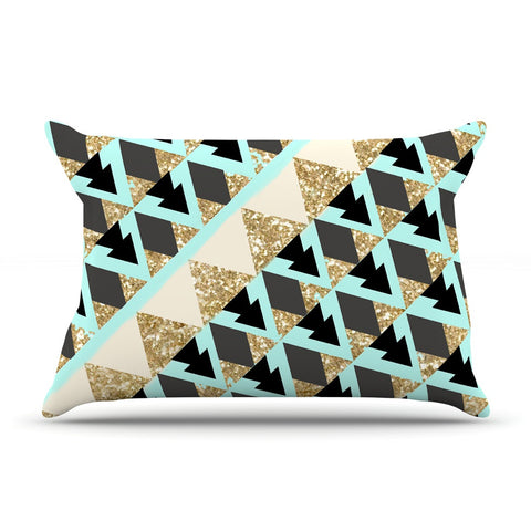 "Nika Martinez ""Glitter Triangles in Gold & Teal"" Blue Brown Pillow Sham - KESS InHouse"
