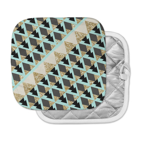 "Nika Martinez ""Glitter Triangles in Gold & Teal"" Blue Brown Pot Holder"