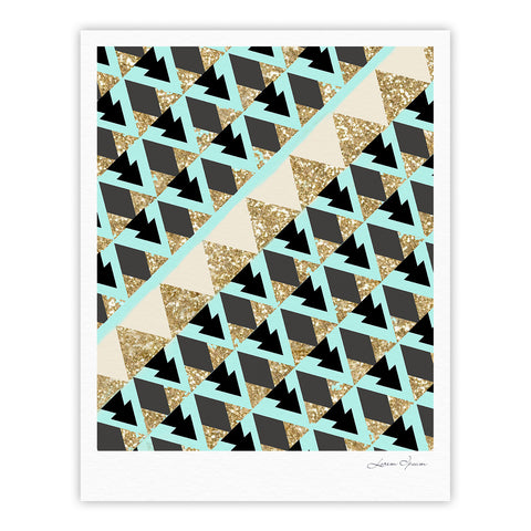 "Nika Martinez ""Glitter Triangles in Gold & Teal"" Blue Brown Fine Art Gallery Print - KESS InHouse"