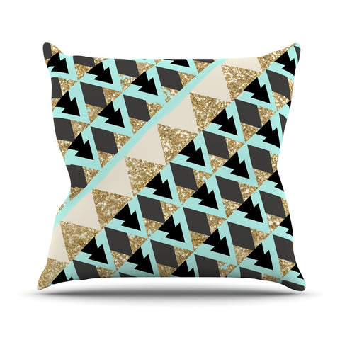 "Nika Martinez ""Glitter Triangles in Gold & Teal"" Blue Brown Outdoor Throw Pillow - KESS InHouse  - 3"