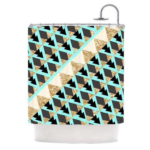 "Nika Martinez ""Glitter Triangles in Gold & Teal"" Blue Brown Shower Curtain - KESS InHouse"