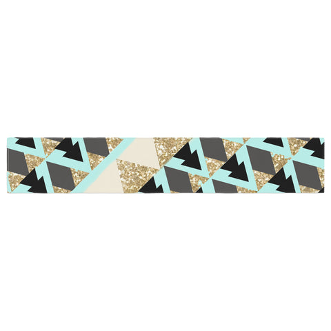 "Nika Martinez ""Glitter Triangles in Gold & Teal"" Blue Brown Table Runner - KESS InHouse  - 1"