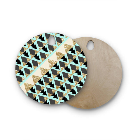 "Nika Martinez ""Glitter Triangles in Gold & Teal"" Blue Brown Round Wooden Cutting Board"