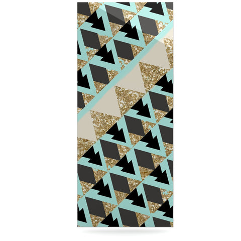 "Nika Martinez ""Glitter Triangles in Gold & Teal"" Blue Brown Luxe Rectangle Panel - KESS InHouse  - 1"