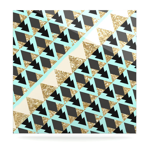 "Nika Martinez ""Glitter Triangles in Gold & Teal"" Blue Brown Luxe Square Panel - KESS InHouse  - 1"