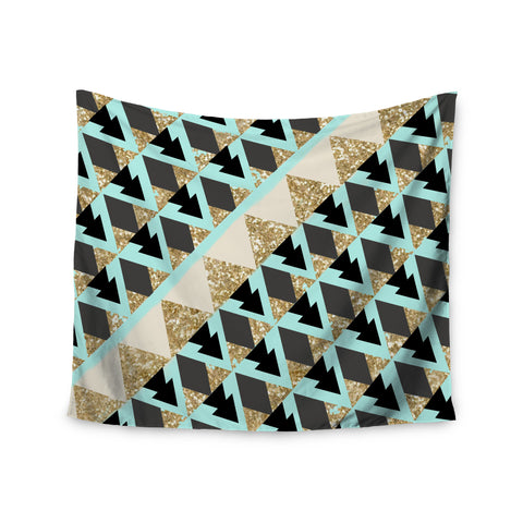 "Nika Martinez ""Glitter Triangles in Gold & Teal"" Blue Brown Wall Tapestry - KESS InHouse  - 1"