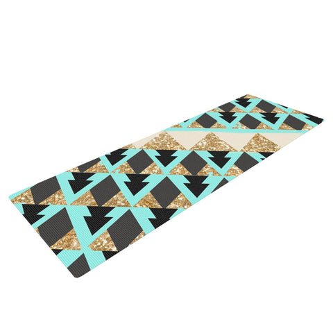 "Nika Martinez ""Glitter Triangles in Gold & Teal"" Blue Brown Yoga Mat - KESS InHouse  - 1"