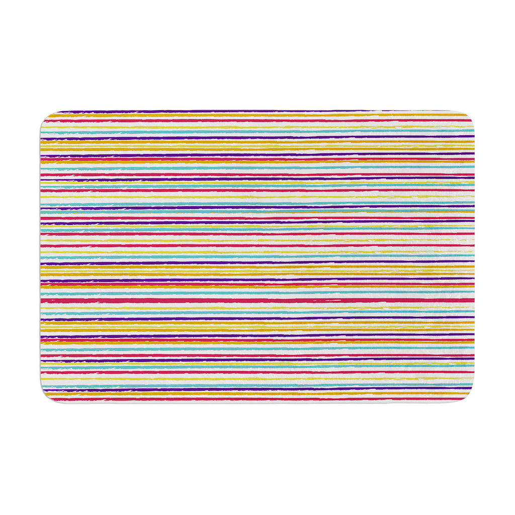 "Nika Martinez ""Summer Stripes"" Abstract Memory Foam Bath Mat - KESS InHouse"