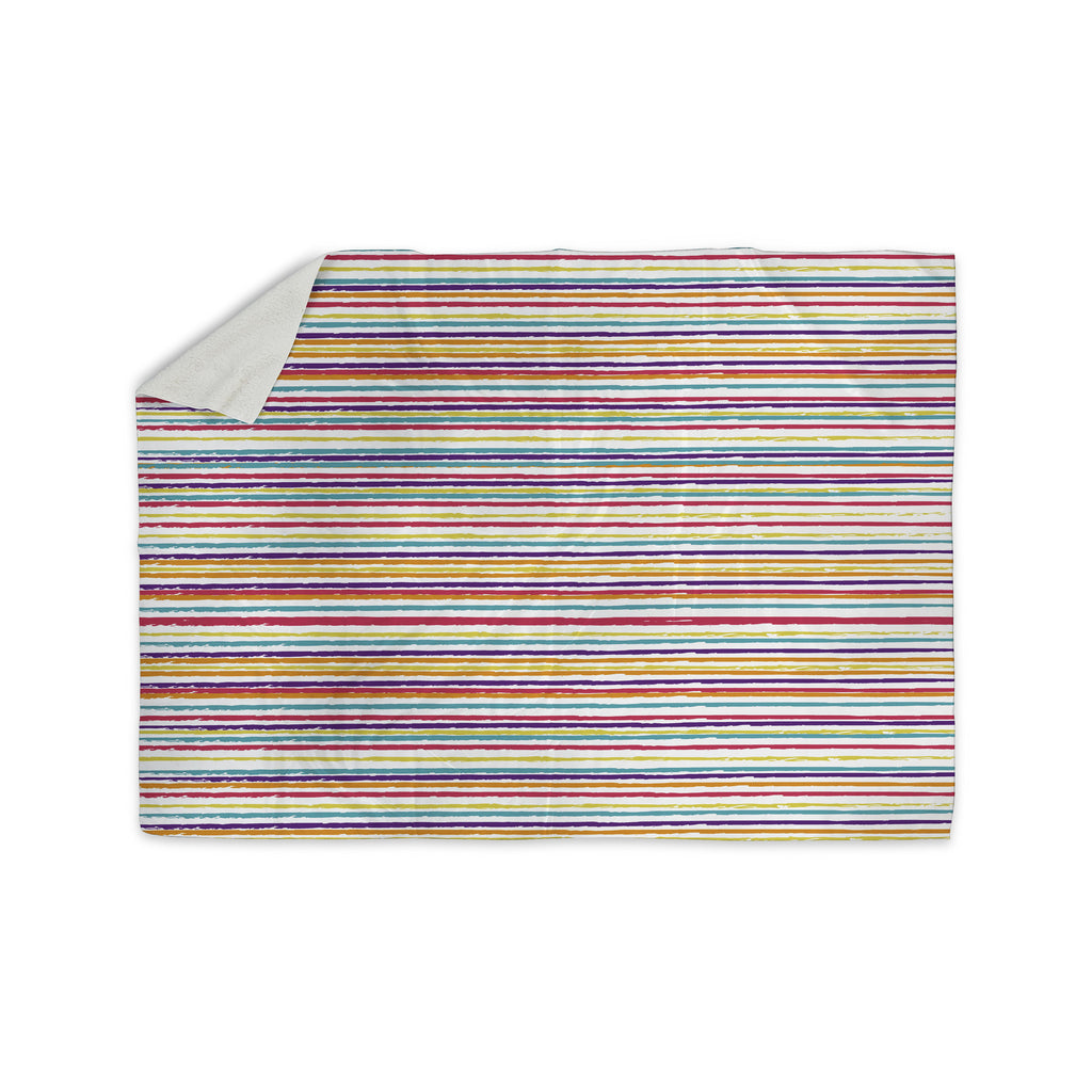 "Nika Martinez ""Summer Stripes"" Abstract Sherpa Blanket - KESS InHouse  - 1"