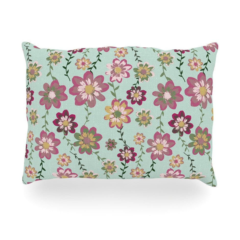 "Nika Martinez ""Romantic Floral in Mint"" Pink Teal Oblong Pillow - KESS InHouse"