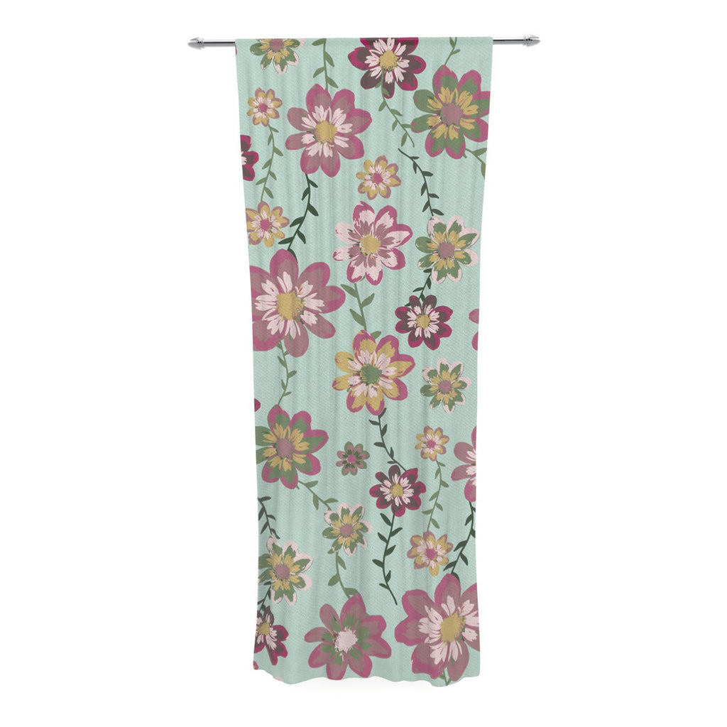 "Nika Martinez ""Romantic Floral in Mint"" Pink Teal Decorative Sheer Curtain - KESS InHouse  - 1"