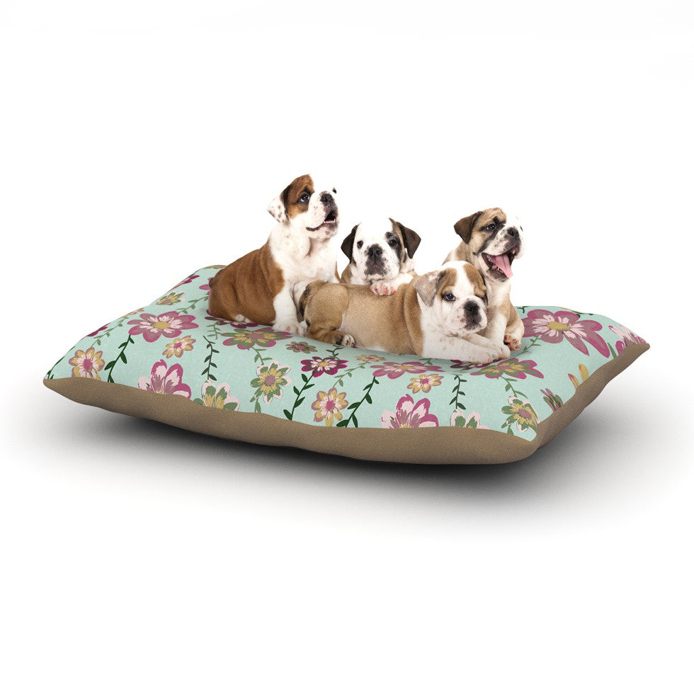 "Nika Martinez ""Romantic Floral in Mint"" Pink Teal Dog Bed - KESS InHouse  - 1"
