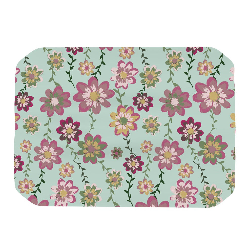 "Nika Martinez ""Romantic Floral in Mint"" Pink Teal Place Mat - KESS InHouse"