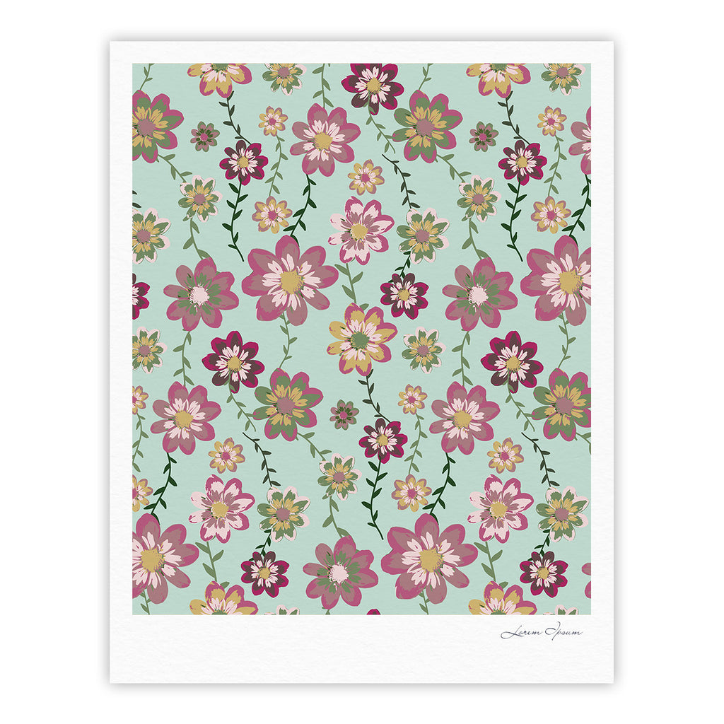 "Nika Martinez ""Romantic Floral in Mint"" Pink Teal Fine Art Gallery Print - KESS InHouse"