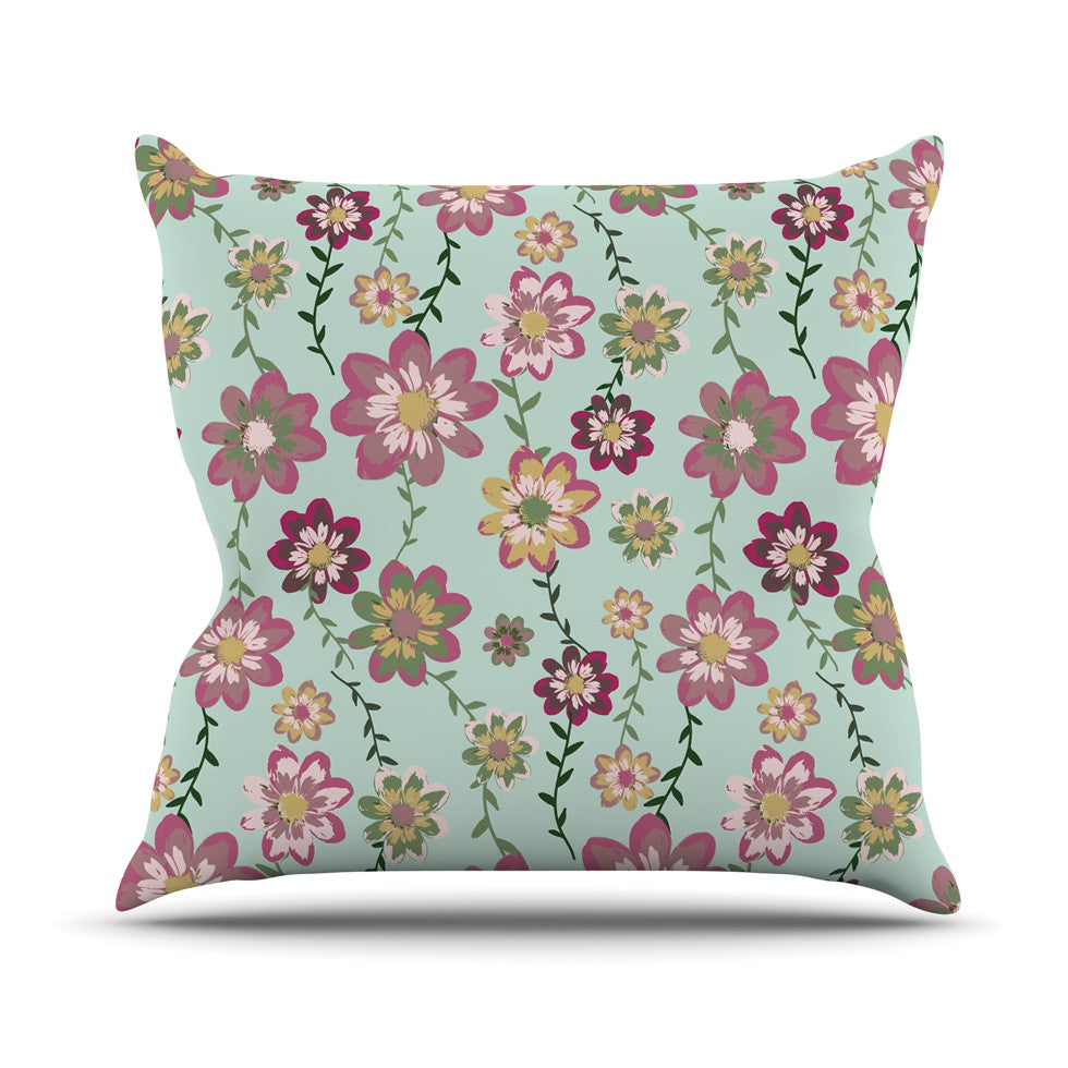 "Nika Martinez ""Romantic Floral in Mint"" Pink Teal Throw Pillow - KESS InHouse  - 1"