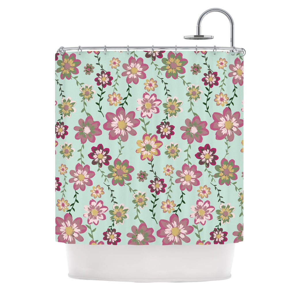 "Nika Martinez ""Romantic Floral in Mint"" Pink Teal Shower Curtain - KESS InHouse"