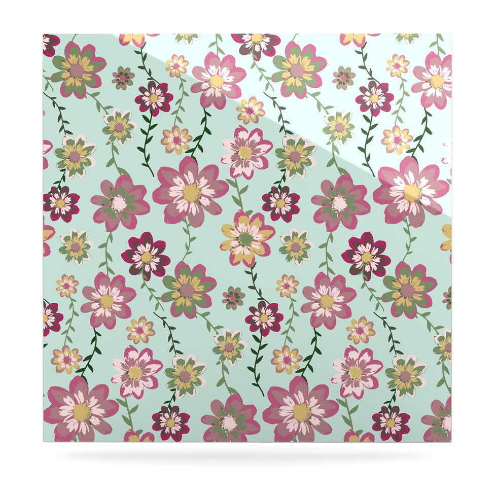 "Nika Martinez ""Romantic Floral in Mint"" Pink Teal Luxe Square Panel - KESS InHouse  - 1"