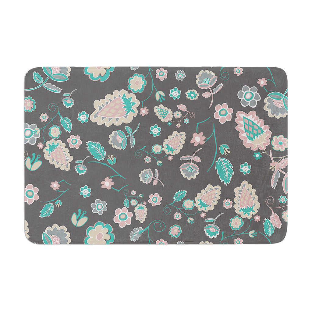 "Nika Martinez ""Cute Winter Floral"" Gray Pastel Memory Foam Bath Mat - KESS InHouse"